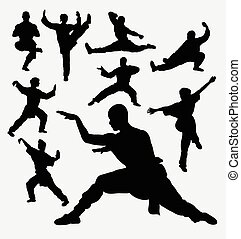 Martial art silhouettes - Wushu male and female martial art...