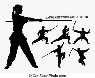 Wushu with weapon silhouettes