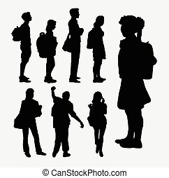 People going to school silhouettes - People going to school...