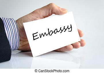 embaixada, texto, conceito,