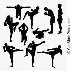 Thai boxer martial art silhouettes