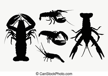 Lobster silhouettes. Good use for symbol, web icons, logo,...