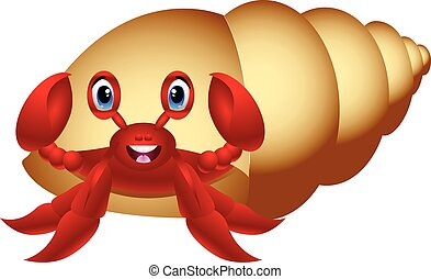 Hermit Crab cartoon - colourfull