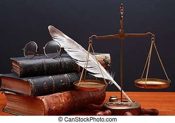 Scales Of Justice - Justice or science still life. Old brass...