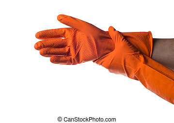 Hands putting on the protective rubber gloves. - Hands...