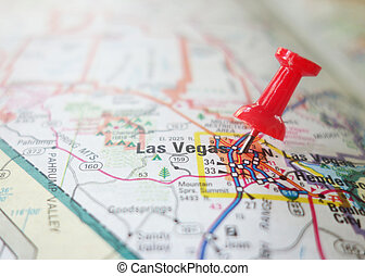 Las Vegas - Red locator pin in a Las Vegas map...