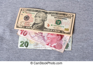 Financial crisis: new ten dollars over thirty crumpled...