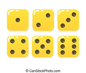 Cartoon yellow dice
