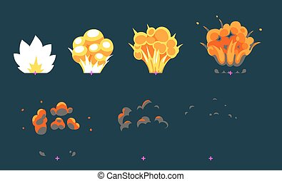 Explosion animation for game - Cartoon explosion animation...