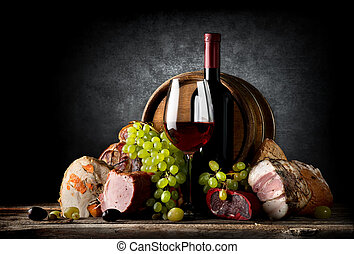 Wine and food on black - Wine and food on a black background