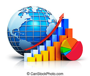 Growing bar graphs, pie chart and Earth globe - Creative...