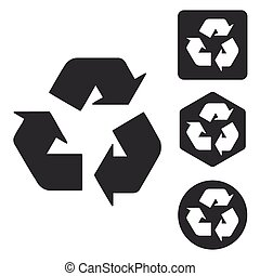 Recycling sign icon set, monochrome, isolated on white