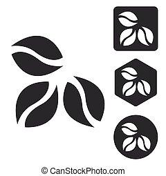 Coffee icon set, monochrome, isolated on white