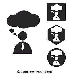 Thinking person icon set, monochrome