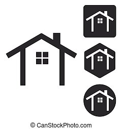 Cottage icon set, monochrome, isolated on white