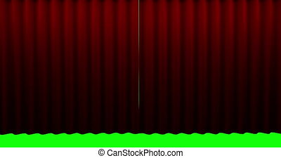 High quality animation perfectly red curtain opening...