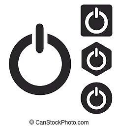 Power icon set, monochrome