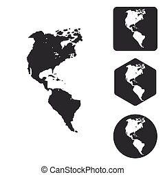American continents icon set, monochrome