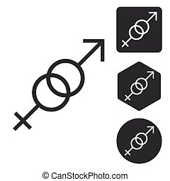Gender symbols icon set, monochrome, isolated on white