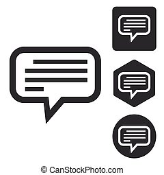 Text message icon set, monochrome, isolated on white