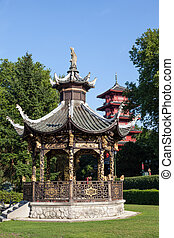 Chinese kiosk at the Museums of the Far East, Brussels -...