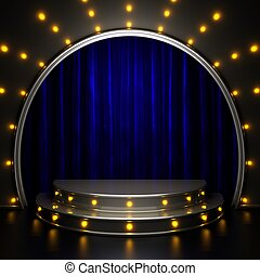 blue curtain stage with lights