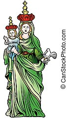 Virgin Mary - Colored Illustration, Vector
