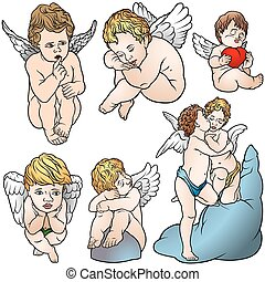 Cherub Set - Colored Illustrations, Vector