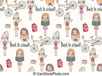 Back to school seamless pattern with school girls, bicycle...
