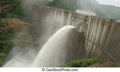 Dam discharge flood water,china