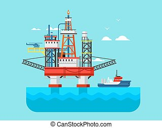 Drilling rig at sea Oil platform, gas fuel, industry...