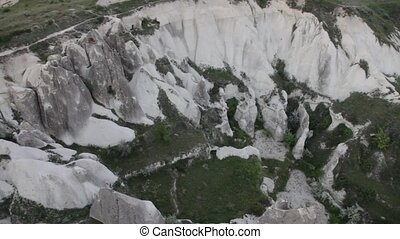 Extinct volcanoes aerial birds eye view of Cappadocia,...