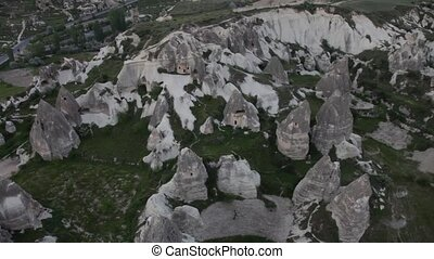 Extinct volcanoes aerial bird's eye view of Cappadocia,...