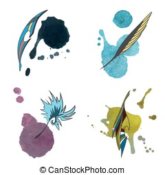 Watercolor feather set. Vector.