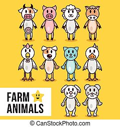 Cute farm animals set. Cow, pig, sheep, horse, cock, cat,...