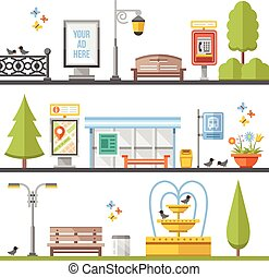 City elements, outdoor elements and city scenes flat...
