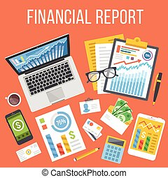 Financial report flat illustration concept. Top view. Modern...