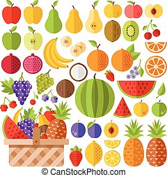 Flat fruits icons set. Colorful flat design concepts for web...