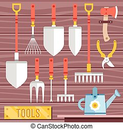 Gardening tools icons set. Hanging gardening equipment....