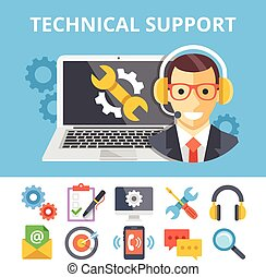 Technical support flat illustration and flat technical...