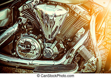 Close up of a high power motorcycle, classic vintage style