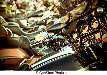 Close up of a high power motorcycle, classic vintage style.