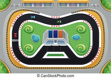 Car Racing Game Viewed from Above - A vector illustration of...