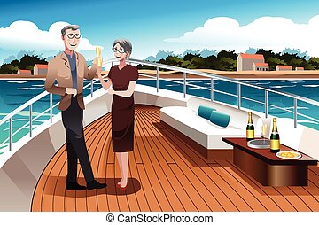Retired Couple on a Yacht - A vector illustration of...