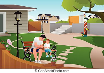 Father Son Playing with Birds - A vector illustration of...