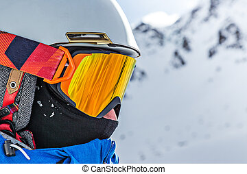 Skier on pise in high mountains, winter sport