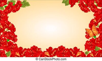 Butterfly and red hibiscus - Animation of illustration...