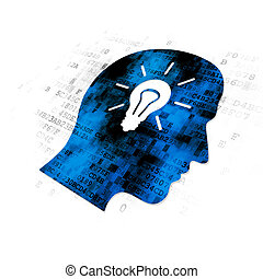 Studying concept: Head With Light Bulb on Digital background