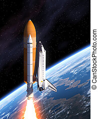 Space Shuttle Takes Off - Space Shuttle And Planet Earth. 3D...