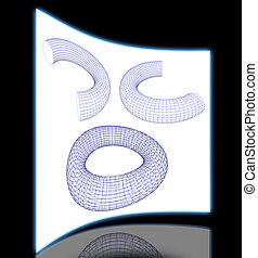 3d torus shapes wireframe ready for editing and simple for...